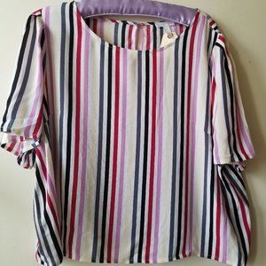 Multi Color Stripped Short Sleeve Round Neck Top
